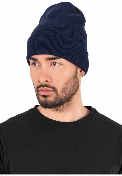 Heavyweight Long Beanie mit Lederpatch hell