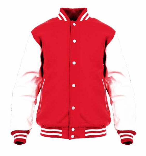 College Jacke mit Lederärmel Konny Design - Red White