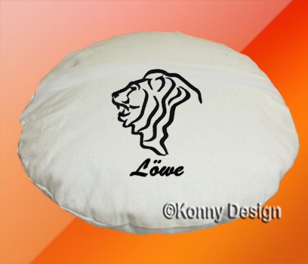 kissen rund 40 cm mit sternzeichen besticken lassen konny design. Black Bedroom Furniture Sets. Home Design Ideas