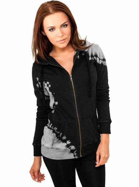 Ladies Acid Wash Terry Zip Hoody